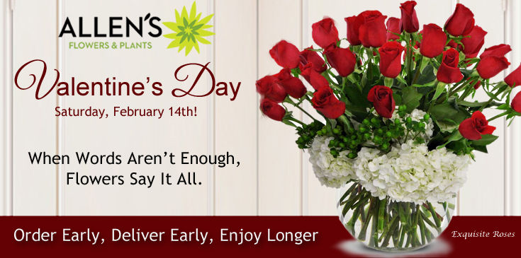 Valentine's Flowers, Valentine's Gifts, Allen's Flowers and Plants offers same day flower delivery.